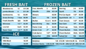 Fresh and Frozen bait supplied by Anglers Sport Center
