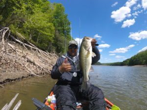 Pro Staffer Alex Perez holds up a nice Largemouth he caught yesterday on Rocky Gorge Reservoir.